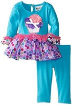 Rare Editions Baby Baby-Girls Newborn Aqua Multi Dot Legging Set, Aqua/Multi,...