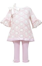 Baby Girls Pink Bell Sleeve Circle Knit Dress/Legging Set, W1-BBNI-WIN15-Bonn...