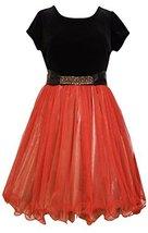 Little Girls Stretch Velvet to Beaded Waist Lame Fit Flare Dress, X3-TDLG-HOL...