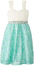Rare Editions Little Girls Mint Sequin Soutache Social Party Dress (14, Mint/...