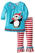 Rare Editions Little Girls 2T-6X Dot Striped Penguin Applique Legging Set (3T...