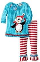 Rare Editions Little Girls 2T-6X Dot Striped Penguin Applique Christmas Leggi...