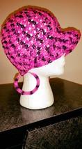 Pink & Black Handmade Ladies Fashion Hat & Earrings Set - $20.00