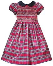 Rare Editions Little-Girls 2T-6X Red Metallid Plaid Smocked Shantung Dress (6X)