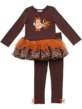 Size-6X RRE-63812 , 2-Piece BROWN Baby Turkey Chick Applique Leopard Print Gl...