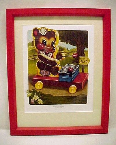 86667a fisher price toy teddy xylophone nursery art print limited edition childs decor