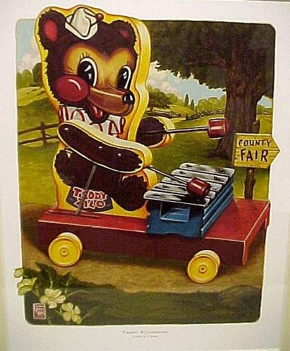Fisher Price Toy Teddy Xylophone Ltd Ed Nursery Print