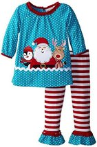 Rare Editions Little Girls 2T-6X Turquoise/Red Happy Santa Knit Legging Set (...