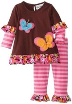 Rare Editions Girls 4-6x Brown Pink BUTTERFLY Applique 2-fer Leggings outfit, 6 - $36.43