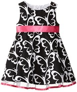 Rare Editions Little Girls' Butterfly Print Woven Dress, Black/White, 2T - $56.43