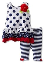 Bonnie Baby Girls Newborn Polka Dot Legging Set (12 Months, Blue) [Apparel]