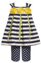 Size-3/6M, Blue, BNJ-6078 2-Piece Rolled Flower Stem Stripe to Dot Knit Dress... - $33.26