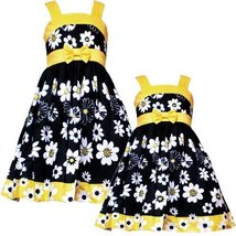 Rare Editions Girls 2T-6X BLACK YELLOW WHITE FLORAL PRINT BOW FRONT Special O...