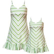 Rare Editions Girls 2T-6X GREEN WHITE STRIPED BEADED STRAPS Spring Summe... - $657,13 MXN