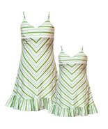Rare Editions Girls 2T-6X GREEN WHITE STRIPED BEADED STRAPS Spring Summe... - £23.39 GBP