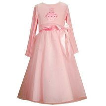 SIZE-4, PINK SEQUIN CUPCAKE FLOATING RIBBON WAISTLINE SATIN TULLE OVERLAY Spe...