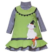 Rare Editions Infant Girls 12M-24M 2-Piece LIME-GREEN BLACK WHITE KITTEN KITT...