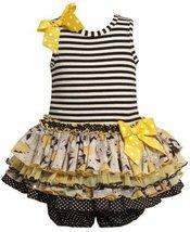 Size-12M, Black, BNJ-8036R, 2-Piece Striped Knit to Multi Tiered Mix-Print Dr...