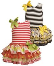 Bonnie Jean Toddlers 2T-4T Striped Knit to Multi Tiered Mix-Print Drop Waist ...