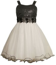 Size-12.5, Black/White, BNJ-8130R Sleeveless Sequined Bodice and Lace Trim to...