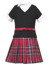 Size-5, Red, Red and Black Pleated Tartan Plaid Belted Twofer Dress, Rare Edi...