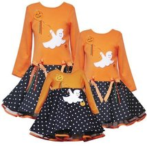 Rare Editions Baby 3M-9M Ghost Applique Skater Dress, 6-Months, Orange [Apparel]