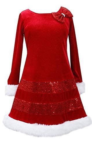 Little Girls 2t-6x Sequin Bands Santa Dress (5, Red) [Apparel]