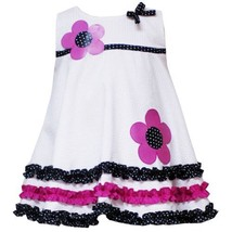 Size 2 T Rre 29600 S White Pink Dotte Flower Applique Triple Ruffle Border Seer... - $30.49