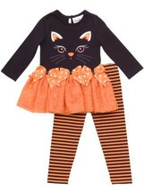 Rare Editions Girls 2-6x Cat Applique Tutu Legging Set, Black/Orange, 2T