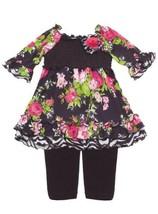 Size-18M, Fuchsia, Fuchsia/Black Floral Print Ity Smocked Legging Set, Rare E...