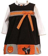 Rare Editions Toddler Girls 2T-4T 2-Piece BLACK ORANGE COLOR BLOCK PUMPKIN BL...