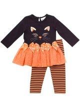 Rare Editions Girls 2-6X Cat Applique Tutu Legging Set (6X, Black/Orange)
