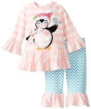 Rare Editions Baby-Girls 3M-24M Pink Aqua Penguin Legging Set (18 Months, Pin...