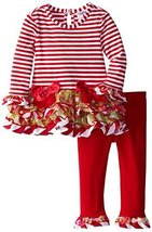 Rare Editions Little Girls 2T-6X Red Striped Tutu Legging Set (6, Red/White) image 2