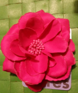 Pink Flower Rose Hair Bow Barret  , New With Tags  - $10.99