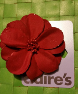 Dark Red Flower Rose Hair Bow Barret  , New With Tags  - $10.99