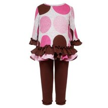 Size-2T RRE-58701F 2-Piece GREY PINK BROWN BIG DOT FUZZY KNIT Girl Top/Leggin...