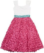 Tween Big Girls White Pleated Crossover Satin Sequin Bonaz Soutache Dress (12... - $61.68