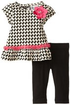 Rare Editions Baby Baby-Girls Newborn Houndstooth Knit Legging Set, Black/Ivo...