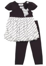 Size-2T, Ivory, Ivory Black Bias Eyelash Ruffle Bubble Legging Set, Rare Edit...