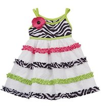 Little Girls Black White Crossover Strap Zebra Print Tier Clip Dot Dress, 3T