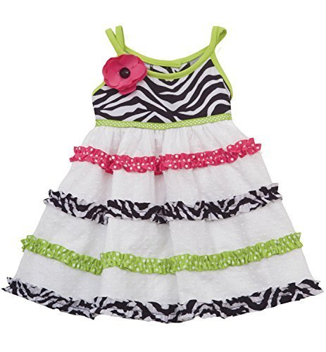 Little Girls Black White Crossover Strap Zebra Print Tier Clip Dot Dress, 5