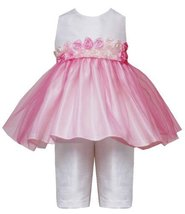 Rare Editions Baby/Infant Girls 3M-24M 2-Piece IVORY PINK ROSETTE TULLE OVERL...