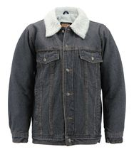 Men's Classic Button Up Sherpa Fleece Lined Cotton Denim Trucker Jean Jacket image 5