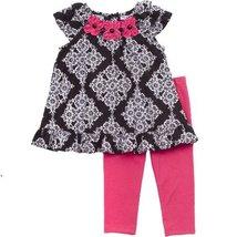 Black White Rufle Cap Sleeve Floral Print Dress/Legging Set BK70, Black, Rare...