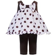 Size-6M, RRE-08498F 2-Piece BROWN WHITE BOW FRONT POLKA DOT TOP and LEGGINGS ...