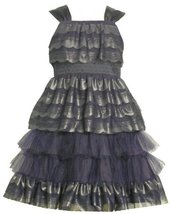 Bonnie Jean Big Girls' Sleeveless Scalloped Dress, Blue, 16 [Apparel]