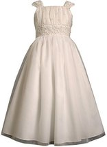 Tween Big Girls 7-16 White Beaded Lace Waistline Communion Dress (7, White)