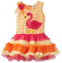 Rare Editions Little Girls' Flower and Applique Details Tutu Dress, Orange/Fu... - $38.12