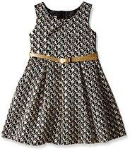 Bonnie Jean Little Girls' Aztec Printed Brocade Dress, Gold, 3T [Apparel]